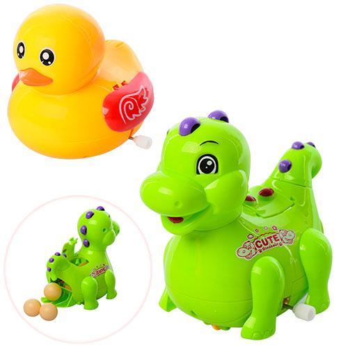 Заводная игрушка 823C-5C (144шт) 11см,ездит,несет яйца,яйцо3шт,2вид(утка,динозавр),в кул,14,5-16-7см
