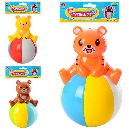 Неваляшка 6526-B-С (120шт) 13см, 2вида(мишка, тигр), звук, в кульке, 15-20-8см