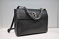 Женская кожаная сумка, черная 0001-669
