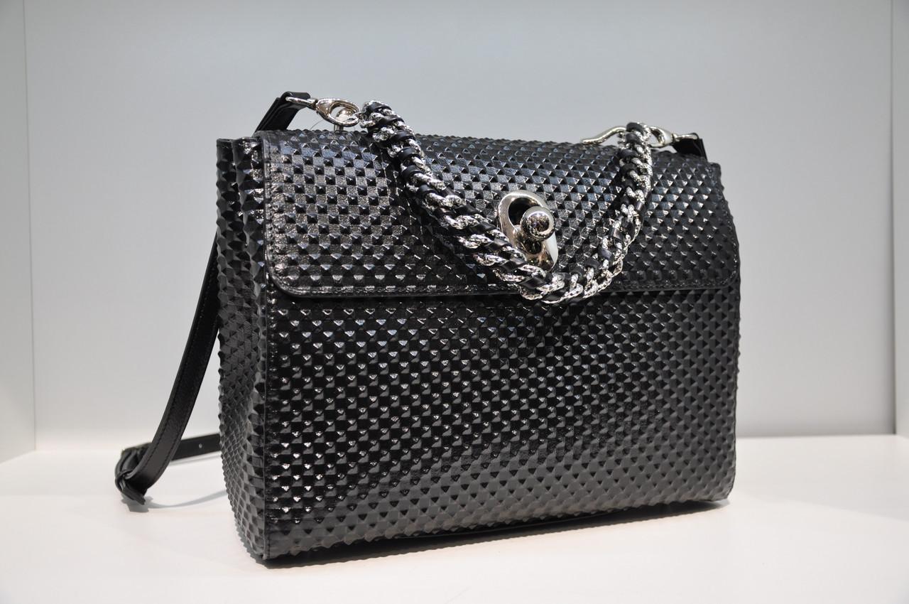 Женская кожаная сумка, черная 669