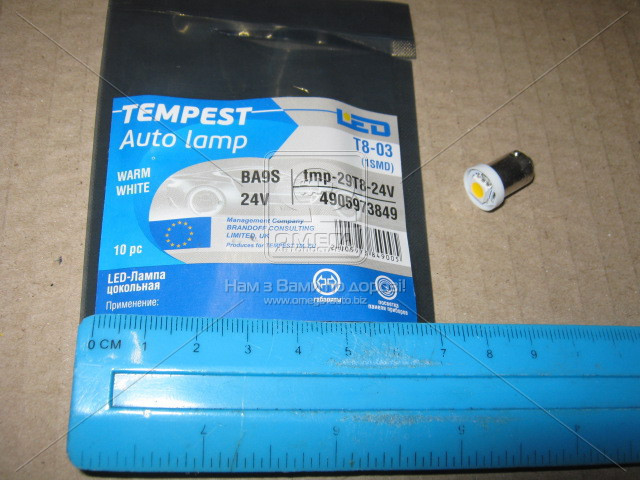 Лампа LED  габарит, посветка панели приборов T8-03 (1LED) BA9S  тепло белый 24 Volt - АВТОКОМПОНЕНТ в Мелитополе