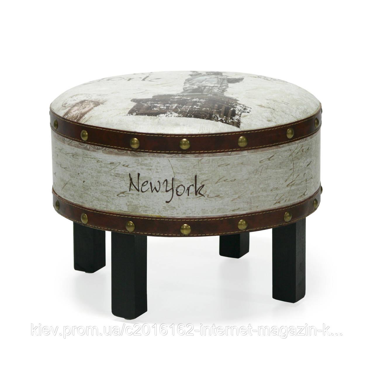 Стул-пуфик Home4You NEW YORK D41xH31cm  wood/leather