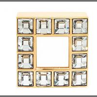 Ручка латунь  з кристалами, квадратна.GIUSTI