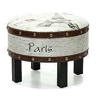 Стул пуфик Home4You PARIS D41xH31cm  wood/leather