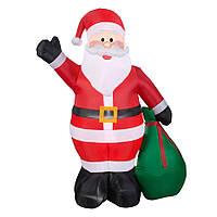 Надувной Санта Клаус с подарком 240 см, светящийся