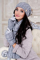 Комплект шапка , шарф и перчатки Эйфория Светло-серый