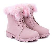 Женские яркие ботинки розового цвета