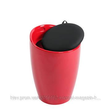 Стул с крышкой и нишей для мелочей Home4You AXEL  Red-Black  с нишей