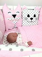 """Роскошный набор постельного белья для девочки """"Розовая нежность"""" 12-ть бортиков + простынка + одеяло + наволочка"""