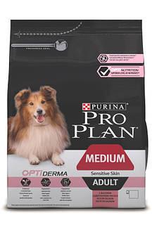 Pro Plan Medium Adult Optiderma 14 кг взрослых собак средних пород с чувствительной кожей с лососем
