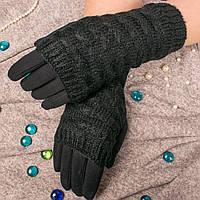 Женские перчатки черного цвета на меху с вязаными митенками Paidi 74-3 01-black 8.5