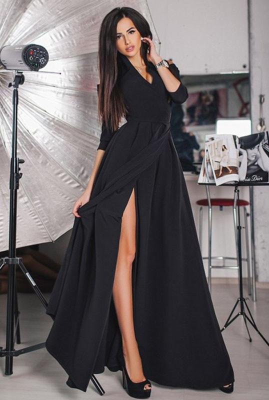Чорне вечірнє плаття -ГАРСІЯ в підлогу