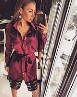Женское стильное платье-рубашка с кружевом
