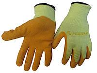 Перчатки VE 730 трикотажные с латексным покрытием рельефным (универсальные для стекольщиков) желтые оранжевые