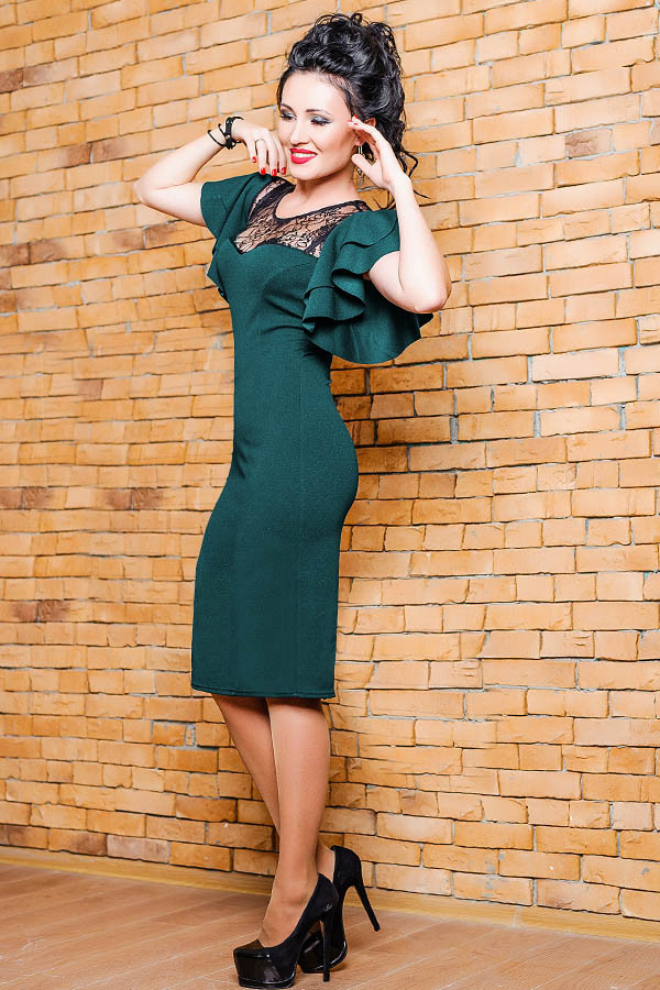 Изумрудное платье с кружевом -ФЛОРЕНС-