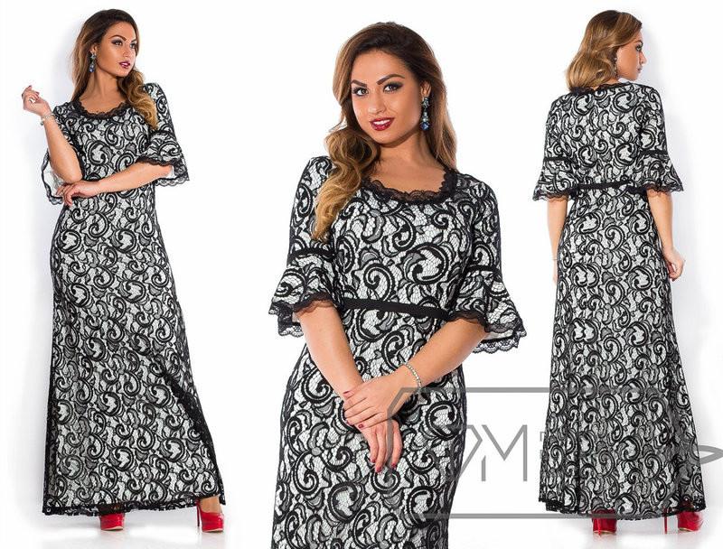 """Нарядные женские платья в пол с кружевом """"Дайвинг"""" 48, 50 размер батал"""