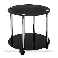 Столик журнальный на колесиках Home4You ESSEN  D50xH45cm  tempered glass  black