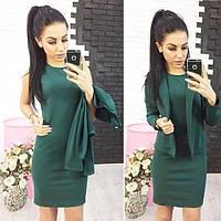 "Костюм ""Эсмик"": платье+ жакет темно-зеленый, 46"