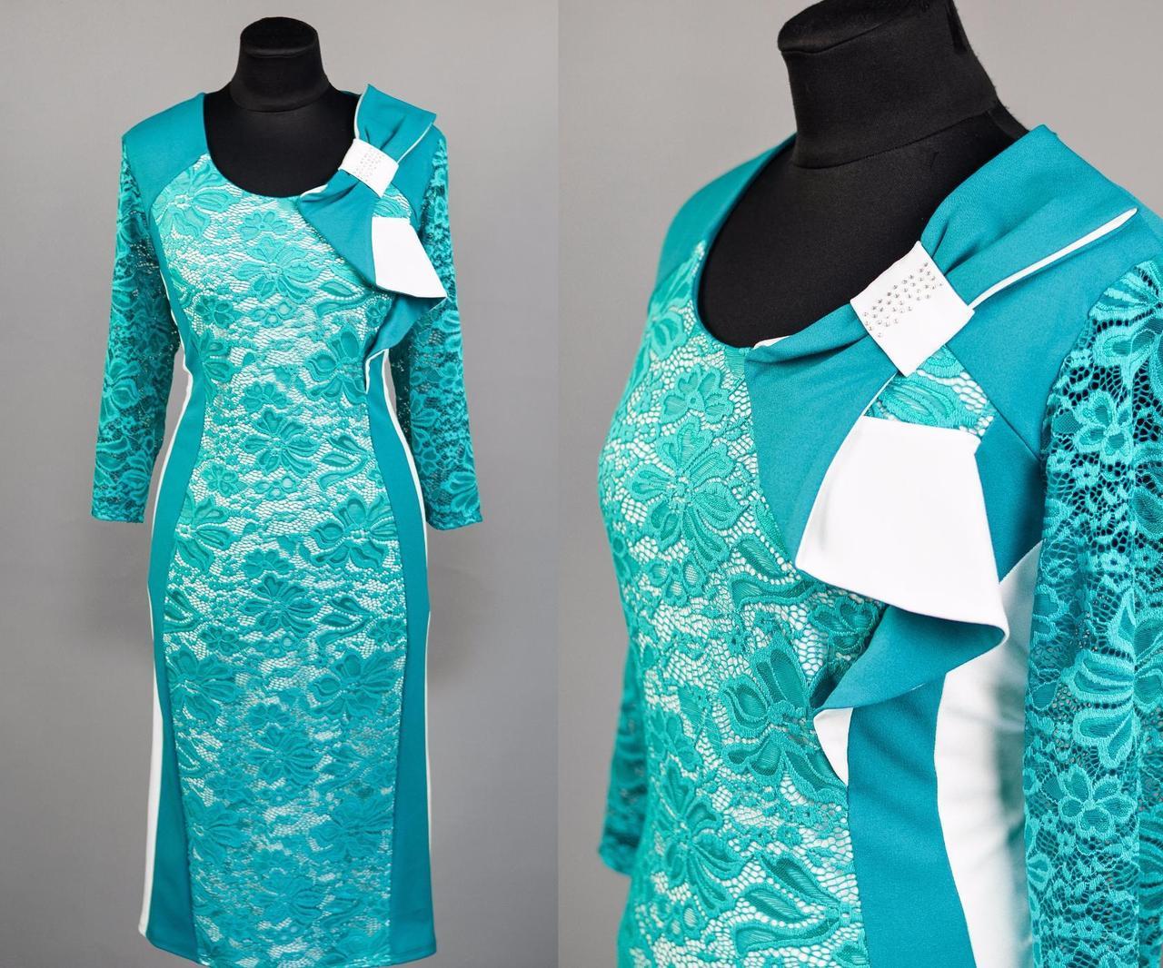 """Нарядное женское платье """" с кружевом на подкладке"""" бирюза 52, 54, 56, 58 размер батал"""