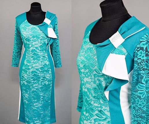 """Нарядное женское платье """" с кружевом на подкладке"""" бирюза 52, 54, 56, 58 размер батал, фото 2"""