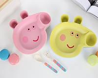 "Набор посуды ""Свинка Пеппа"" из бамбукового волокна Тарелка + ложечка и вилочка Peppa Pig, фото 1"
