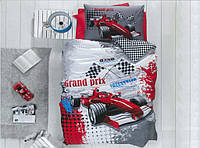 """Полуторный комплект постельного белья с детским рисунком """"Гонщик"""" 150х220 из бязи"""