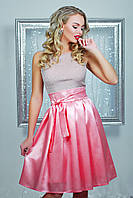 Персиковое платье с атласной юбкой, фото 1