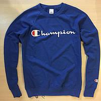 Свитшот тёмно-синий принт Champion | Кофта стильная