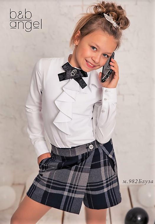 Нарядная школьная белая блузка р-ры 152