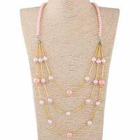Длинная подвеска с розовым жемчугом и золотыми вставками