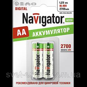 Аккумулятор Navigator 94465 NHR-2700-HR03-BP2, АА, Ni-MH, 2700 mAh,1000 циклов