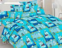 Комплект постельного белья полуторный бязь - 40-0483 Blue