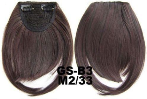 Накладная челка на клипсах из искусственных волос 2-33 красный шоколад