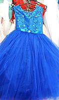 Платье детское нарядное Красотка синее 7-9 лет