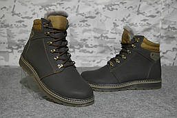 Ботинки зимние Винтер коричневые кожаные на шерсти