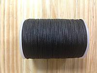Нитка вощёная, плетенная, круглая, черного цвета, толщина - 0,7 мм, 65 метров, артикул СК 5193