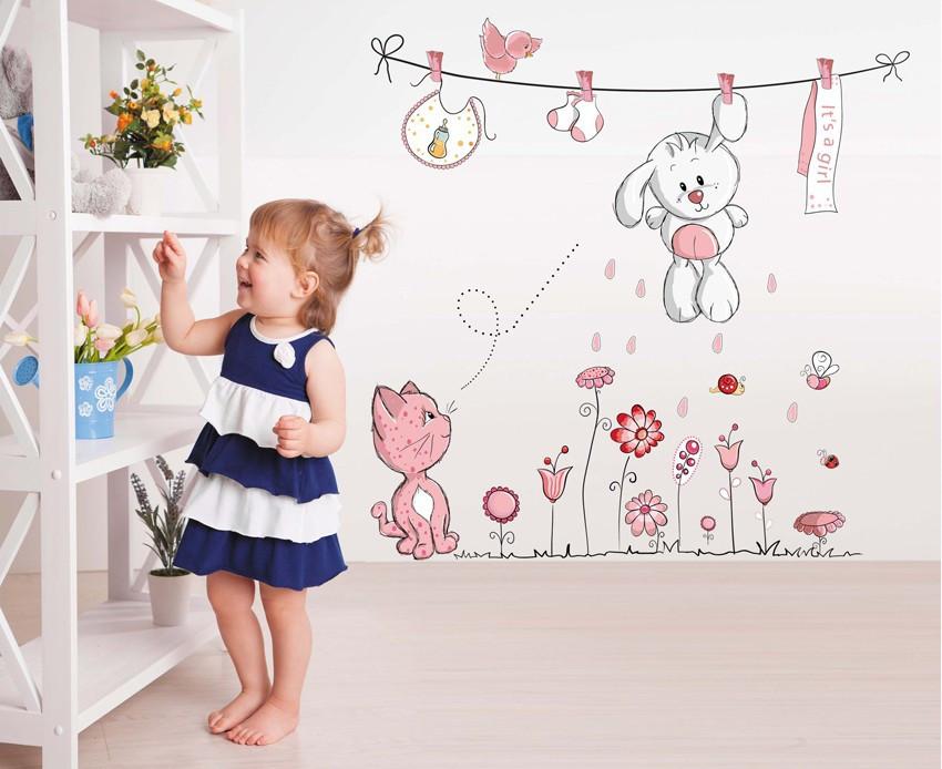 """Наклейка (стикер) на стену """"Розовый кролик"""", Дизайн и декор"""