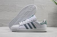 Кроссовки женские Adidas Superstar Код SD-3905 Белые с зеленым