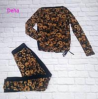 Брюки с заниженной проймой цветы Deha