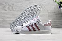 Кроссовки женские Adidas Superstar Код SD-3902 Белые с розовым