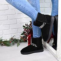 Угги женские низкие цепь черные, обувь женская зимняя