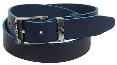 Мужской кожаный ремень под джинсы Skipper 11112 темно-синий ДхШ: 130х3,8 см.