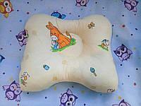 Ортопедическая подушка для новорожденных бежевая, тм Лари