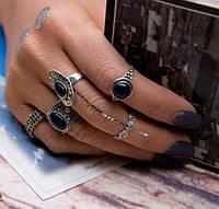"""Посеребренные кольца комплект 5 штук """"Kleopatra"""" black stone"""