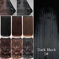 Прядь накладная на клипсах из искусственных вьющихся термо-волос 80 см №1 черный