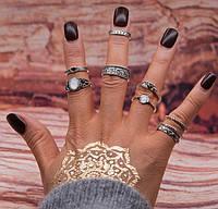 "Посеребренные кольца комплект 9 штук ""Kleopatra"" white stone"