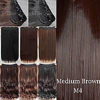 Прядь накладная на клипсах из искусственных вьющихся термо-волос 80 см №4 шоколад