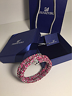 Браслет Сваровски розовый 1000 камней  2 витка  с лого