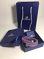 Браслет Сваровски фиолетовый 1000 камней  2 витка  с лого