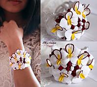 """""""Бело-бордовые орхидеи"""" браслет ручной работы из полимерной глины. Для невесты или свидетельницы, фото 1"""